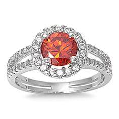 Sterling Silver 1.50 Carat Round Deep Red Garnet White Topaz Diamond Accent Split Shank Wedding Engagement Anniversary Halo Ring Love Gift