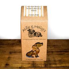 Alfie & Molly's Gourmet Peanut Butter and Banana Hearts. Banana Heart, Natural Dog Treats, Healthy Dog Treats, Grain Free, Peanut Butter, Hearts, Handmade, Gourmet, Hand Made