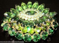 JULIANA Amazing HUGE Layered Green Rhinestone Vintage Pin