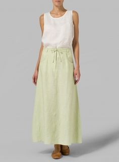 Linen High Rise Long Skirt