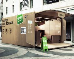 This pop-up shop advertising the South Korean search engine Naver is a metal container disguised as a giant open corrugated cardboard box, complete with scannable QR code. The Naver App Square is entirely furnished with cardboard, with computer screens and seating areas hidden within the material. Click image for details & visit our Tactical Urbanism board >> http://www.pinterest.com/slowottawa/tactical-urbanism/