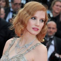 Jessica Chastain at Cannes 2016 in a white gold and diamond Piaget sautoir necklace and yellow diamond ring.