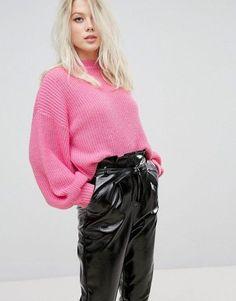 Balloon Sleeve Ribbed Sweater