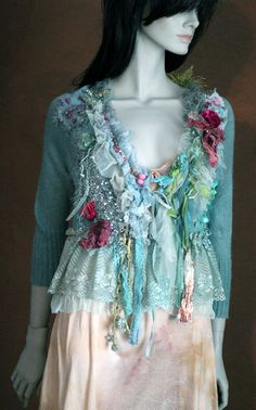 Waterflora- shabby chic bohemian cardi,vintage trims and textiles, altered