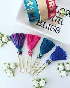 Tassel Paperclips and charms on binder clips