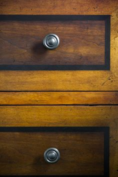 Inspiration for Maori's dresser.  A transitional, two-tone walnut chest with black inlays is a sophisticated storage option that brings warmth to the space.