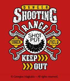 SHOT PUT VETERANS: SHOOTING RANGE - KEEP OUT T-SHIRT DESIGN
