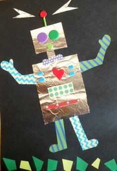 Cute Robot project using foil & construction paper