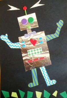 Cute Robot project using foil & construction paper