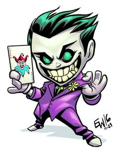 From the chibi sale held a bit ago. Chibi Joker, as if he needs an introduction lol. Joker Drawings, Cartoon Drawings, Cartoon Art, Easy Drawings, Cute Cartoon, Cartoon Characters, Joker Cartoon, Chibi Marvel, Chibi Superhero