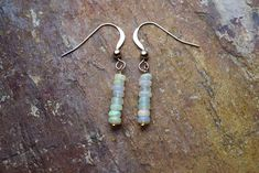 Fiery Ethiopian Opal and 14k Rose Gold Filled Dangle Earrings By Saturnalia Jewellery