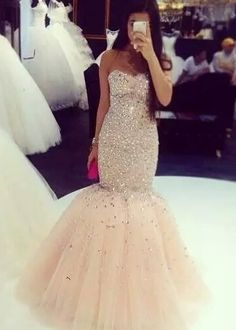 2016 Crystals Beaded Mermaid Prom Dresses Sweetheart Neck Floor Length Luxury Pageant Dresses