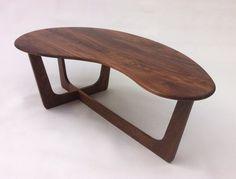 Mid Century Modern Coffee Table Solid Walnut Kidney Bean Shaped Atomic Era Biomorphic