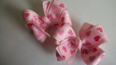 Pink Valentine Hair Bows Item 785 by pachwilliamson on Etsy, $4.00