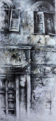 Scars of Life, Macau I » Ian Murphy Drawings Urban Landscape, Landscape Art, Decay Art, Gcse Art Sketchbook, Building Art, A Level Art, Architectural Features, Environmental Art, Art And Architecture