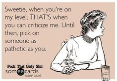 Sweetie, when you're on my level, THAT'S when you can criticize me. Until then, pick on someone as pathetic as you.