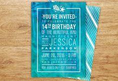 Watercolor Beach Invitation, Modern Wedding, Birthday Invitation, Destination Wedding, Turquoise Sea, Watercolor Wash, Starfish Invite