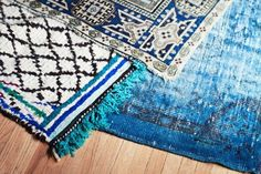 Blue patterned boho rugs