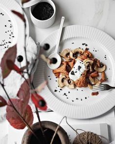 «Handpicked Mushrooms from the Forest: Season with black sea salt flakes, a spoonful of sour cream and lemon drizzle».