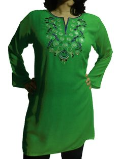 Women's Top with Floral Vine Embroidery in Various Colors (Customizable)