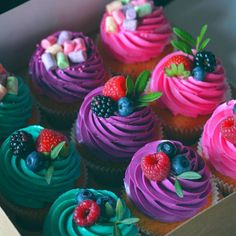 Easy and moist homemade chocolate rosemary cupcakes recipe from scratch topped with Italian blackberry buttercream. Cupcake Recipes, Cupcake Cakes, Dessert Recipes, Fondant Cakes, Mini Cakes, Pretty Cakes, Cute Cakes, Yummy Cupcakes, Berry Cupcakes