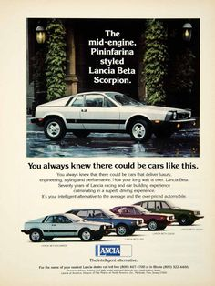 1976 Ad Lancia Montecarlo Beta Scorpion 2Door Coupe Mid Engine Sports Car YCD9
