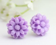 Lavender Chrysanthemum Ear Posts, Bridal Jewelry, Bridesmaids Gift,