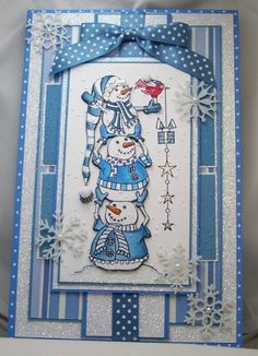 Blue Snowmen by diannep575 - Cards and Paper Crafts at Splitcoaststampers