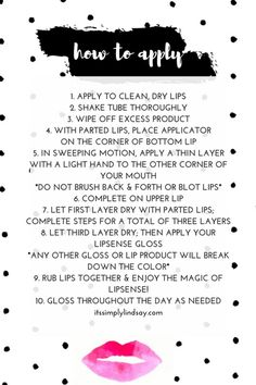 lipsense instructions cards free printables lips pinterest