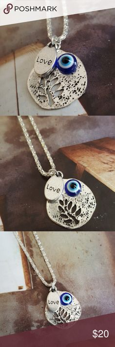 """Tree of life medallion evil eye live necklace 16 """" Fashion jewellery  silver plated nwt Jewelry Necklaces"""