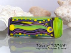 Waves  Abstract Art Glass Bead by Michou P. by michoudesign, $69.00