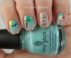 Falling Forward Nail Art Challenge - Beach Themed Nails