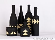 Ashbee Design: Upcycled Painted Wine Bottles combined with bamboo veneer. Tutotial