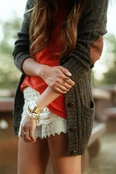 grandpa cardigan with elbow patches and lace shorts. just throw on some tights for cooler temps.