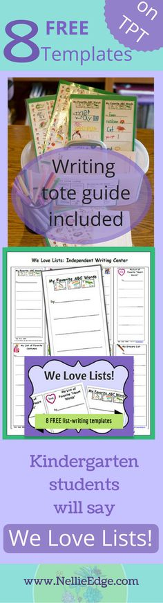 "Begin the year with these 8 writing templates for Independent Writing Centers. Templates are as seen on Nellie Edge Online Seminars #1, ""ABC and Phonics Immersion."" http://nellieedge.com/professional-development/ The entire collection of over 250 writing templates will soon be available for purchase on TPT. Includes: ""Teaching for Independence Guide"" and ""Writing Tote Label."""