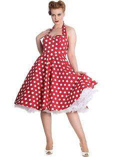 c7b85cd4418b HELL BUNNY Meriam, rot Petticoat Kleid Bekleidung, Kleider, Langer  Tellerrock, Tupfen,