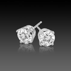 Diamond Stud Earrings, 1/5 Carat, SI1/H, Excellent Cut 4 Prong Basket in 14K White Gold from Diamondstudsonly.com