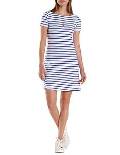 Short Sleeve Striped T-Shirt Dress: Charlotte Russe