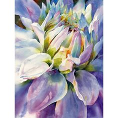 Watercolor by Susan Crouch - Rhythm and Blues Dahlia Art Aquarelle, Art Watercolor, Watercolor Flowers, Arte Floral, Beautiful Paintings, Colorful Paintings, Love Art, Painting & Drawing, Amazing Art
