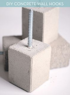 Make It Modern Diy Concrete Wall Hooks Make It Modern Diy Concrete Wall Hooks 187 Curbly Diy Design Community Cement Art, Concrete Crafts, Concrete Art, Concrete Design, Concrete Blocks, Concrete Walls, Concrete Planters, Polished Concrete, Diy Design