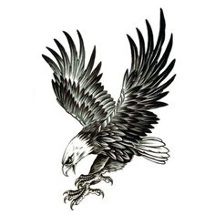 Attractive Black Ink Flying Eagle Tattoo Design