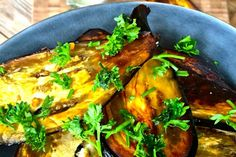 Accompanied by a thick and creamy tahini cumin sauce, these roasted eggplant slices add a side of deliciousness to any entree.