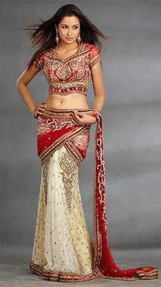 red + cream    I really wish I was Indian so I could rock one of these without being culturally inappropriate. They're so beautiful.
