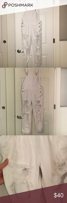 Boohoo brand white overall Super cute distressed overall Boohoo Jeans Overalls