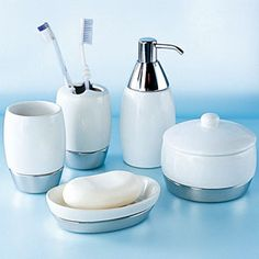 A Few Different Accessories In A Set... Toothbrush Holder, Soap Holder,
