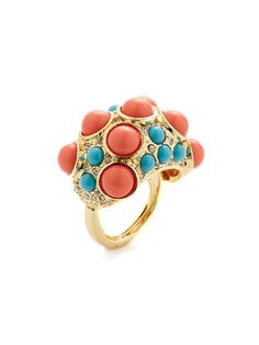 Coral & Turquoise Resin Cabochon Ring by Kenneth Jay Lane at Gilt