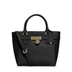 30f0be9aa1 MICHAEL Michael Kors Hamilton Traveler Medium Saffiano Leather Tote Black  Michael Kors Handbags Outlet