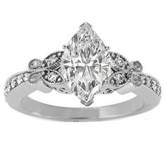 Marquise Diamond Butterfly Vintage Engagement Ring setting 0.16 tcw. In 14K White Gold