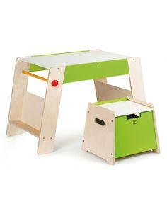 Play Station + Stool Set by Hape Toys.This kid-sized wooden table and stool create a perfect place for playing, working, or snacking.Keep art supplies in the seat so everything is close at hand when you need it. Kids Table Chair Set, Kid Table, Table And Chairs, Toddler Easel, Toddler Art, Toddler Toys, Modern Baby Furniture, Kids Furniture, Designers Guild