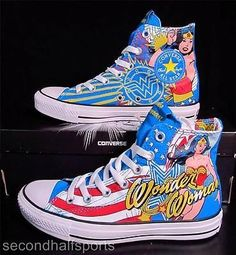 Converse Wonder Woman DC Comics Chuck Taylor All Star Sneakers 137673C RARE! http://www.shopstyle.com/action/loadRetailerProductPage?id=458016547&pid=uid1209-1151453-20 www.USBlvd.com